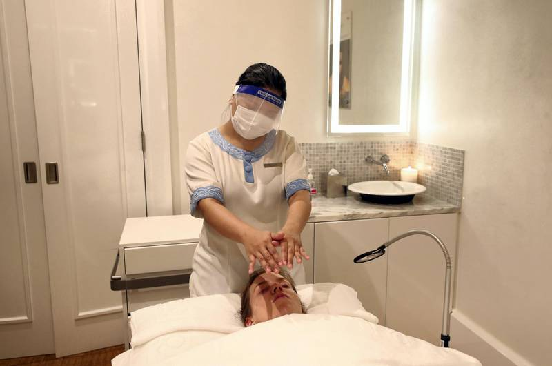 Dubai, United Arab Emirates - Reporter: Ashleigh Stewart. Lifestyle. Sherylle gives a facial at ShuiQi Spa & Fitness at the Atlantis hotel. Spas and massage salons in Dubai have received the green light to resume services. Tuesday, July 7th, 2020. Dubai. Chris Whiteoak / The National