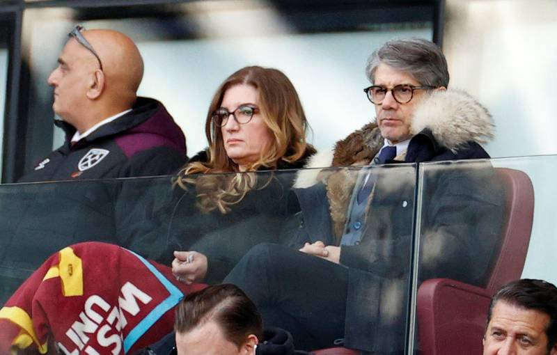 """Soccer Football - Premier League - West Ham United v Southampton - London Stadium, London, Britain - February 29, 2020  West Ham United Vice-chairman Karren Brady with her husband, Paul Peschisolido, in the stands during the match   Action Images via Reuters/John Sibley  EDITORIAL USE ONLY. No use with unauthorized audio, video, data, fixture lists, club/league logos or """"live"""" services. Online in-match use limited to 75 images, no video emulation. No use in betting, games or single club/league/player publications.  Please contact your account representative for further details."""