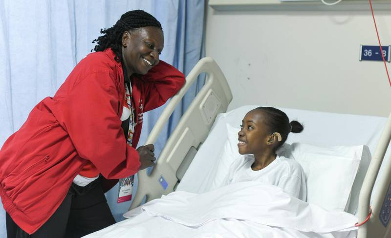 Abu Dhabi, United Arab Emirates - Shanice Bapiste, from Trinidad and Tobago, a Special Olympics Athlete for Bocce sport with her coach Clevanic Williams-Cupid at Sheikh Khalifa Medical Centre. Khushnum Bhandari for The National