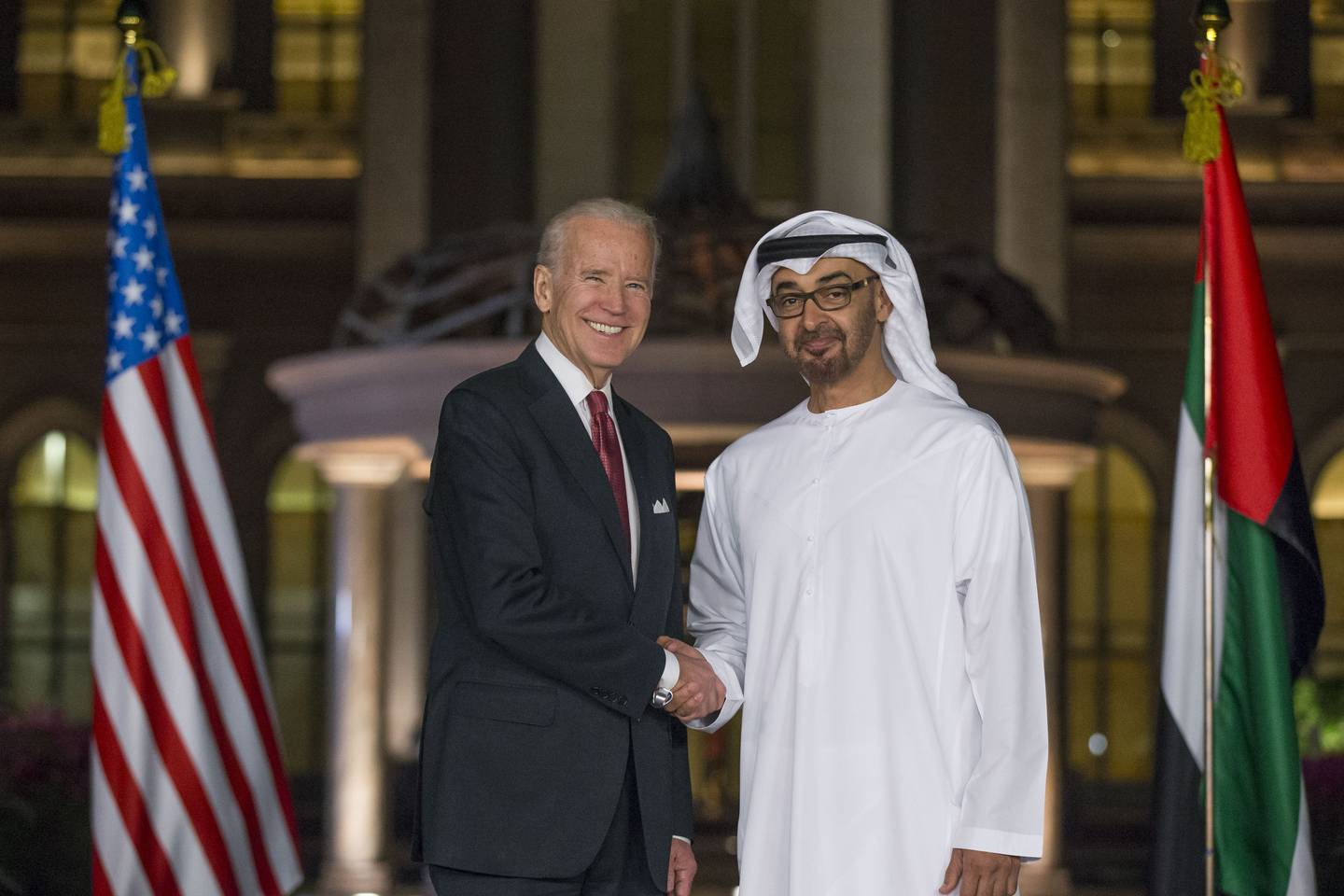 ABU DHABI, UNITED ARAB EMIRATES - March 07, 2016: HH Sheikh Mohamed bin Zayed Al Nahyan, Crown Prince of Abu Dhabi and Deputy Supreme Commander of the UAE Armed Forces (R), and Joe Biden, Vice President of the United States of America (L), stand for a photograph prior to a dinner meeting at Emirates Palace. ( Ryan Carter / Crown Prince Court - Abu Dhabi ) --- *** Local Caption ***  20160307RC_C5_5788.JPG