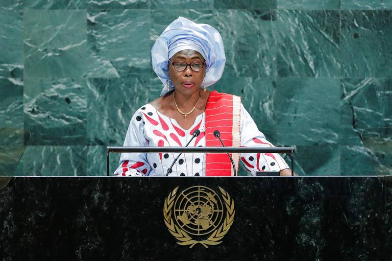 Gambia's Vice President Isatou Touray addresses the 74th session of the United Nations General Assembly at U.N. headquarters in New York City, New York, U.S., September 26, 2019. REUTERS/Eduardo Munoz