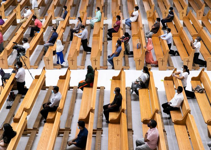 ABU DHABI, UNITED ARAB EMIRATES. 9 SEPTEMBER 2020.Worshippers attending the service in St Paul's church in Mussafah.(Photo: Reem Mohammed/The National)Reporter:Section: