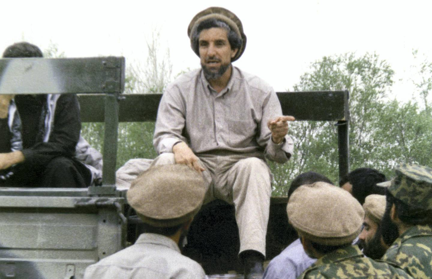 Undated and unlocated picture of Afghan opposition military commander Ahmad Shah Masood speaks to his followers.   AFP PHOTO (Photo by AFP)
