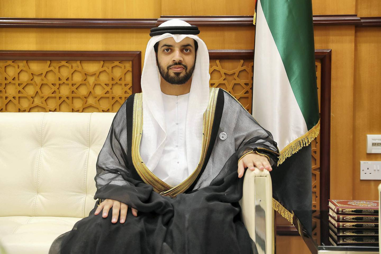 ABU DHABI , UNITED ARAB EMIRATES , JUNE 27 – 2018 :- Shaikh Omar Al Darei , Head of Fatwa and member of the new fatwa council at the General Authority of Islamic Affairs & Endowments office in Abu Dhabi.  ( Pawan Singh / The National )  For News. Story by Shareena