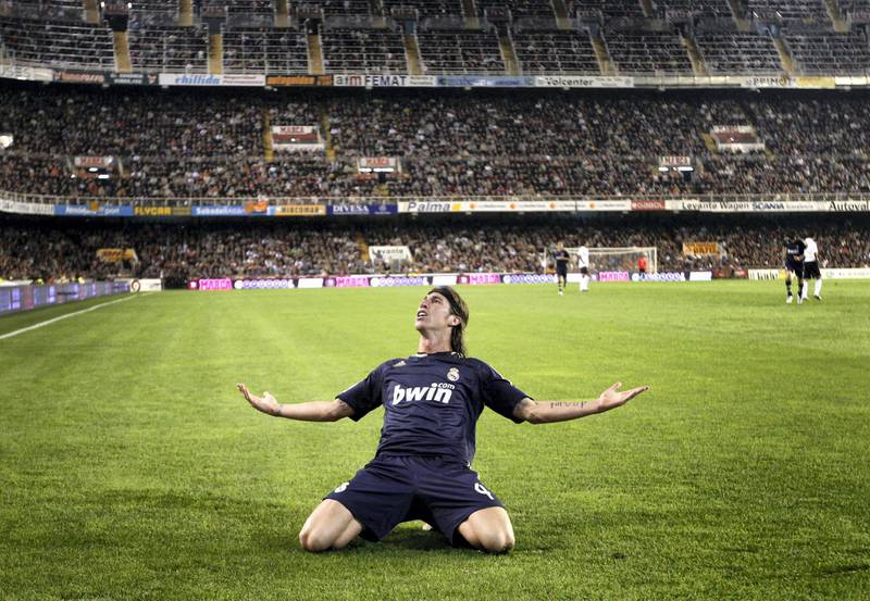 VALENCIA, SPAIN - OCTOBER 31:  Sergio Ramos of Real Madrid celebrates his goal during La Liga match between Valencia and Real Madrid at the Mestalla Stadium on October 31, 2007 in Valencia, Spain.  (Photo by Jasper Juinen/Getty Images)
