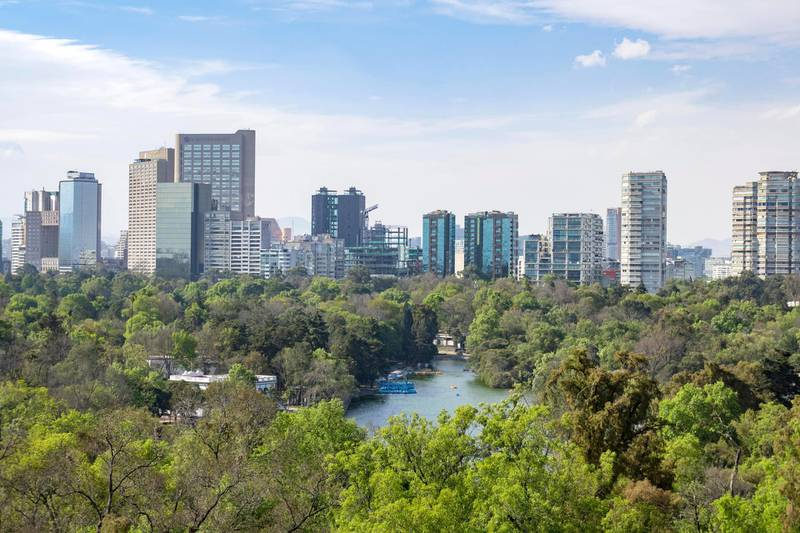 HYN1TN Cityscape view from the Chapultepec Castle of Mexico City