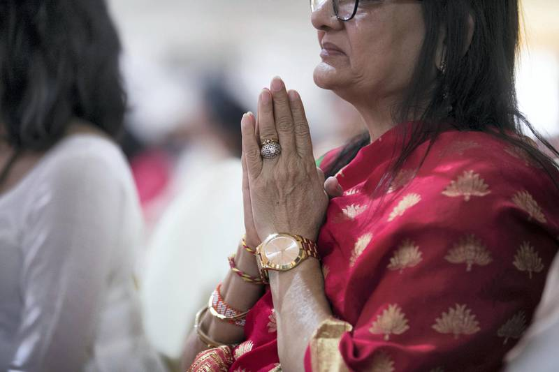 ABU DHABI, UNITED ARAB EMIRATES - April 20 2019.The Shilanyas Vidhi, The Foundationceremony of the first traditional Hindu Mandir in Abu Dhabi, UAE. The Vedic ceremony is performed in the holy presence of His Holiness Mahant Swami Maharaj, the spiritual leader of BAPS Swaminarayan Sanstha.(Photo by Reem Mohammed/The National)Reporter:Section: NA + BZ