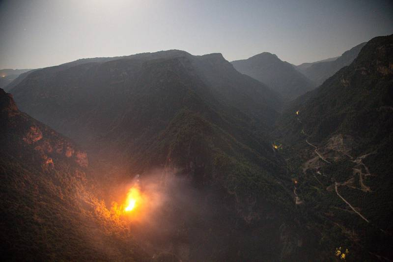 A fire blazes in Wadi Jhanam, in north Lebanon on Sept. 6, 2020. Khaled Taleb for The National