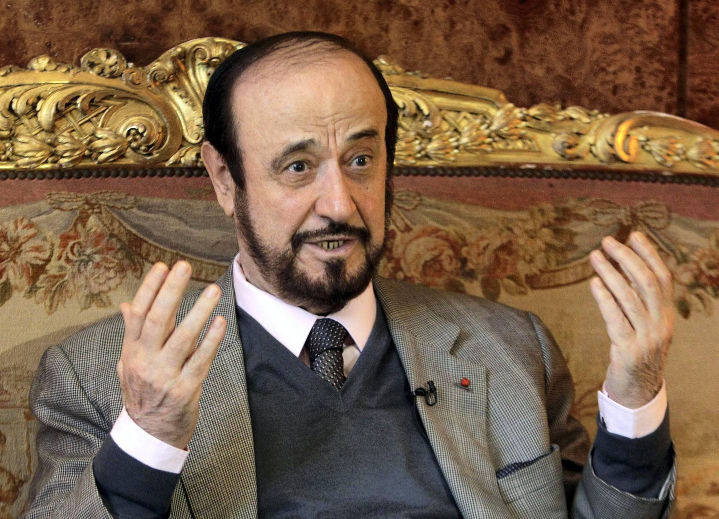 Rifaat Assad, an exiled uncle of Syrian president Bashar Assad, answers the Associated Press, Tuesday Nov. 15, 2011 in Paris.(AP Photo/Michel Euler)