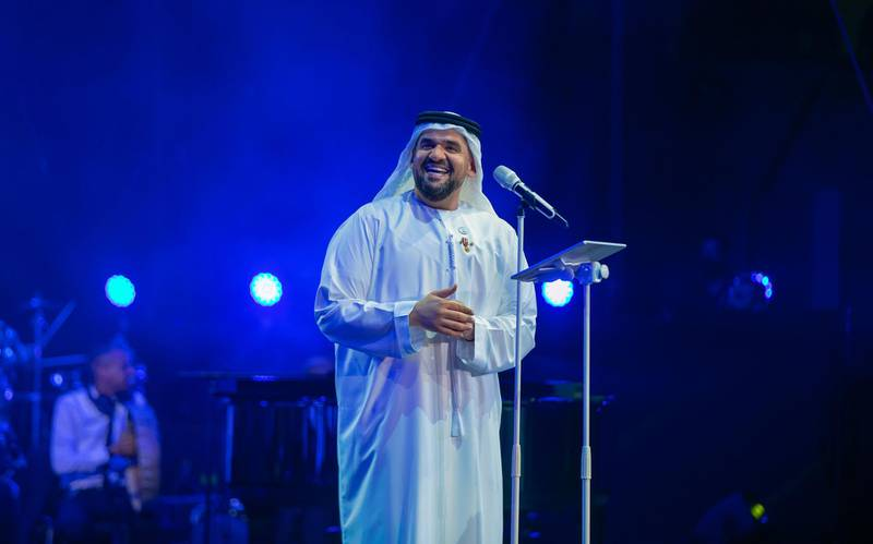 Emirati singer Hussain Al Jassmi performs at the 49th National Day show at Al Majaz Amphitheatre in Sharjah, December 3. Wam