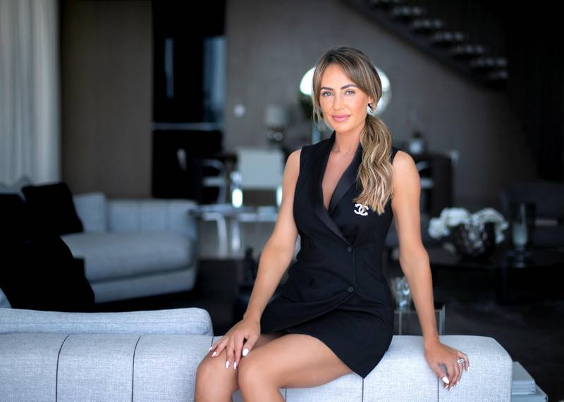 DUBAI, UNITED ARAB EMIRATES. 27 JANUARY 2021. Lyndsay Doran is the founder of L'Couture Collections a luxury activewear brand, started in 2019, designed in Dubai and aimed at empowering women both on and off the gym floor. (Photo: Reem Mohammed/The National)Reporter:Section: