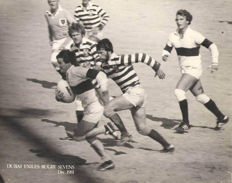 Dubai Exiles ar Rugby Sevens, December 1981. Courtesy: Emirates Airline Dubai Rugby Sevens *** Local Caption ***  Andy Jackson - Exiles.JPG