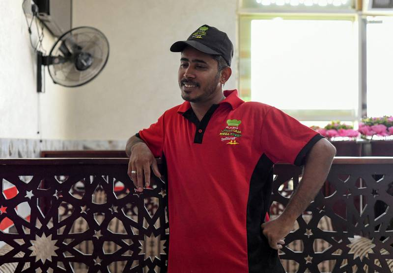 Residents and Heat in Sweihan-AD  Muhammed Shafi, 35 from Kerala, staying in Sweihan for last 6 months, and works as a waiter at Mega Fresh Restaurant in Sweihan on June 9, 2021. Reporter: Haneen Dajani News