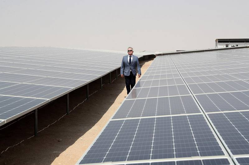 ABU DHABI,  UNITED ARAB EMIRATES , OCTOBER 1 – 2019 :- Jorge Perea , Executive Managing Director showing the Noor Solar Power Plant in Sweihan in Abu Dhabi. ( Pawan Singh / The National ) For News. Story by Daniel