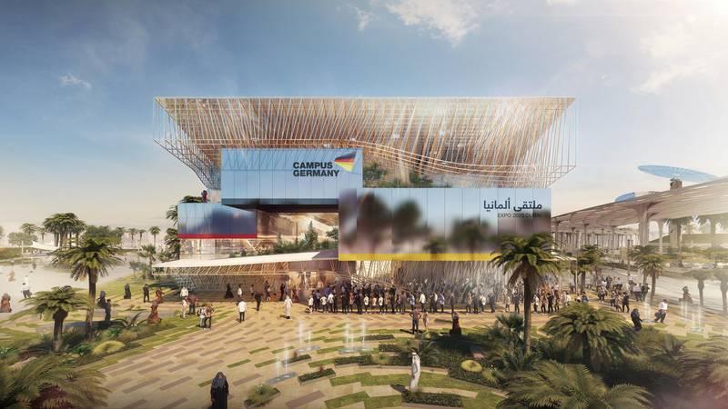 The German Pavilion CAMPUS GERMANY: Front. Courtesy: German Pavilion EXPO 2020 Dubai