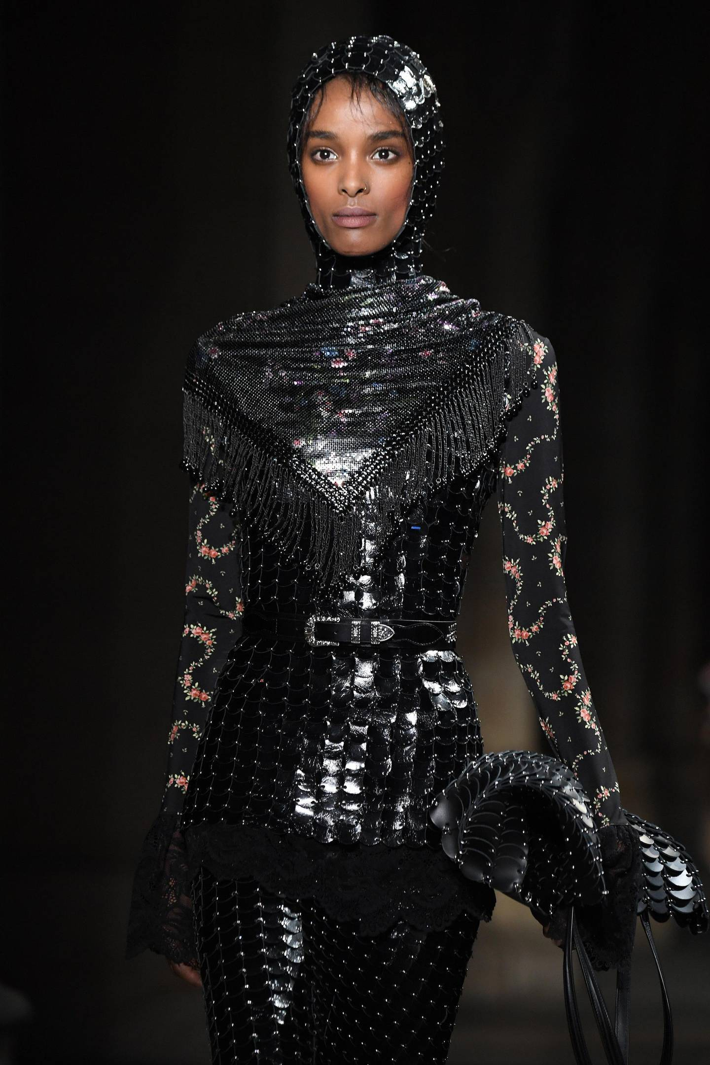 PARIS, FRANCE - FEBRUARY 27: A model walks the runway during the Paco Rabanne show at La Conciergerie as part of the Paris Fashion Week Womenswear Fall/Winter 2020/2021 on February 27, 2020 in Paris, France. (Photo by Pascal Le Segretain/Getty Images For Paco Rabanne)