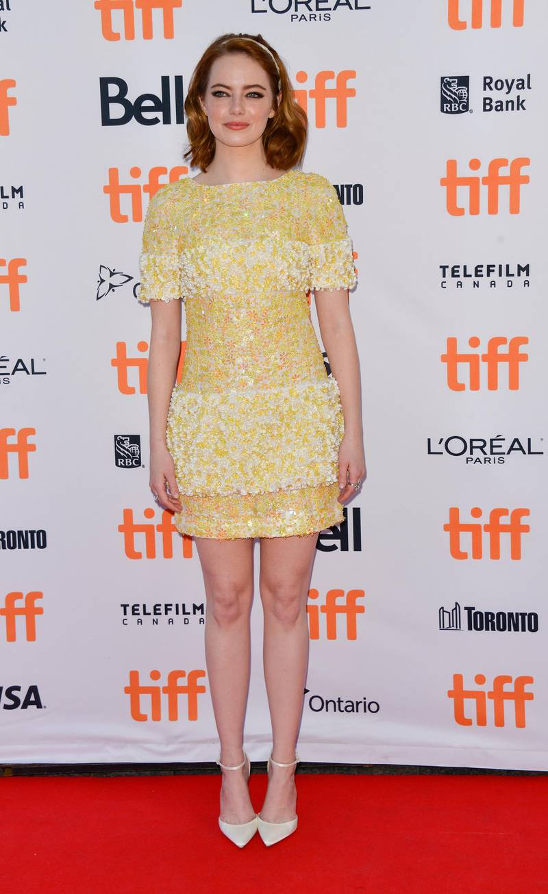 epa05537239 US actress and cast member Emma Stone arrives for the screening of the movie 'La La Land' during the 41st annual Toronto International Film Festival (TIFF), in Toronto, Canada, 12 September 2016. The festival runs from 08 to 18 September.  EPA/WARREN TODA