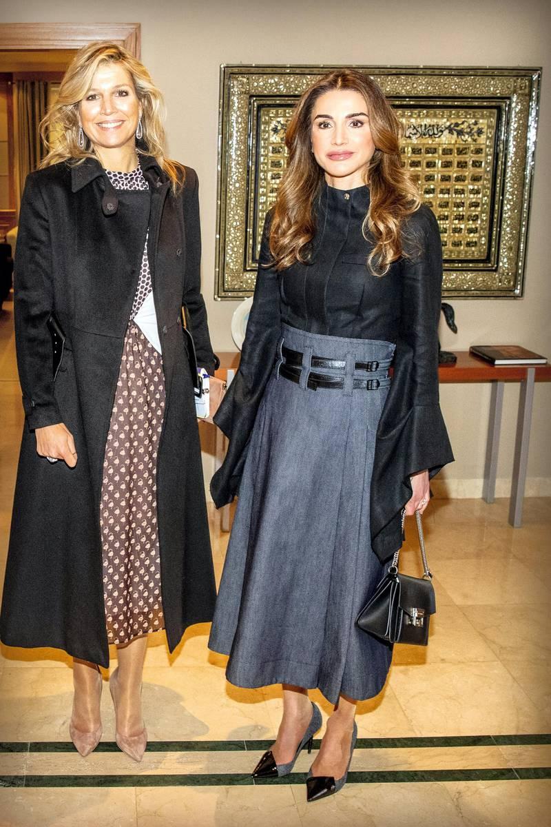 AMMAN, JORDAN - FEBRUARY 12: Queen Maxima of The Netherlands visits King Abdullah of Jordan and Queen Rania of Jordan at the Royal Palace on February 12, 2019 in Amman, Jordan. (Photo by Patrick van Katwijk/Getty Images)