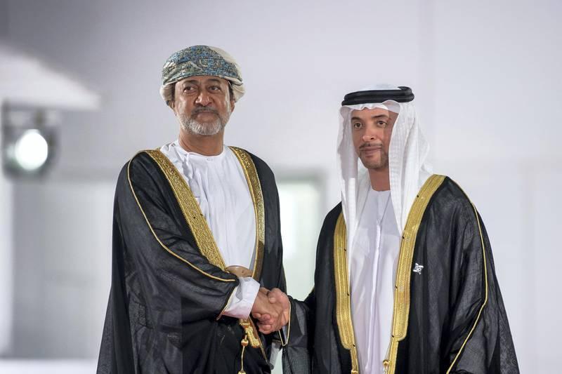 SAADIYAT ISLAND, ABU DHABI, UNITED ARAB EMIRATES - November 08, 2017: HH Sheikh Hazza bin Zayed Al Nahyan, Vice Chairman of the Abu Dhabi Executive Council (R), stands for a photograph with HH Sayyid Haitham Bin Tariq Al Said Minister of Heritage and Culture of Oman (L), during the opening ceremony of the Louvre Abu Dhabi.  ( Abdullah Al Junaibi  ) ---