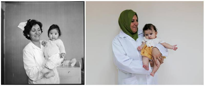 """A combination picture shows a nurse posing with a Palestinian baby at the Gaza Vocational Training Centre in the Gaza Strip, in this handout picture believed to be taken in 1967. UNRWA/Handout via REUTERS (L) and a nurse holding a Palestinian baby in a UNRWA-run health center in the Gaza Strip, September 4, 2019. REUTERS/Ibraheem Abu Mustafa ATTENTION EDITORS - THIS IMAGE WAS PROVIDED BY A THIRD PARTY. NO RESALES. NO ARCHIVES SEARCH """"UNRWA COMBOS"""" FOR THIS STORY. SEARCH """"WIDER IMAGE"""" FOR ALL STORIES."""