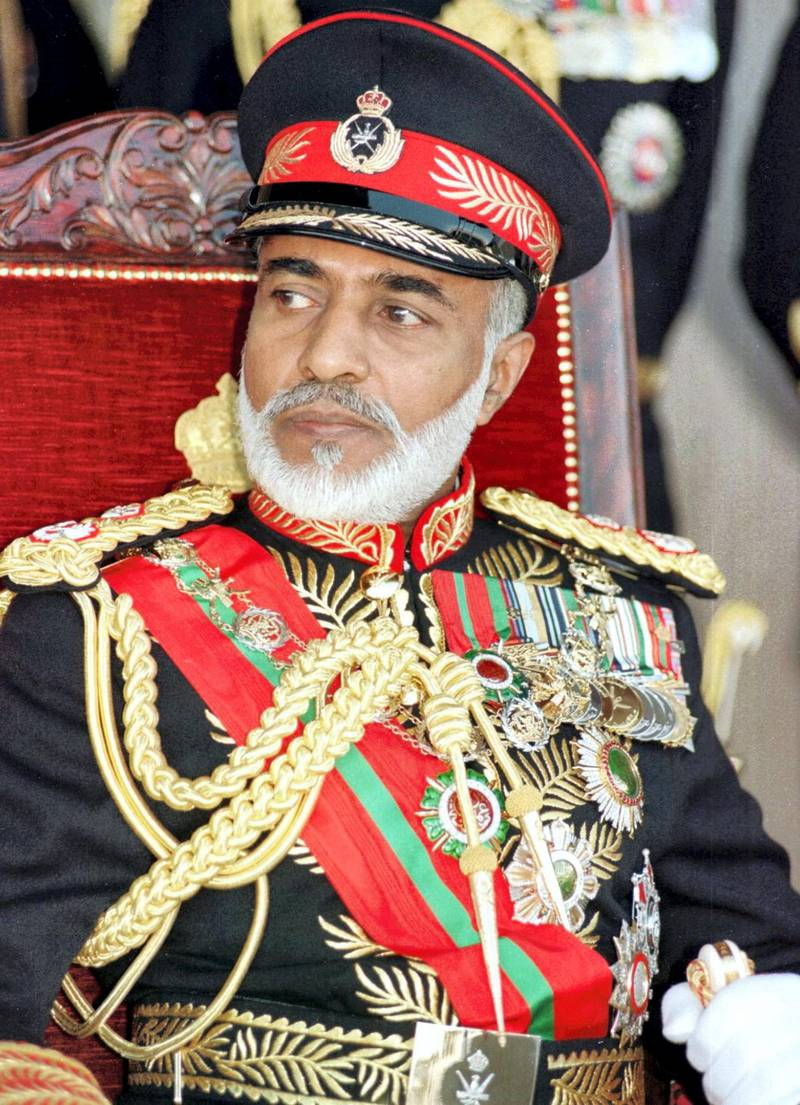 Picture dated 20 November 1995 shows Sultan Qaboos Bin Said of Oman attending the country's National Day in Muscat. (Photo by MOHAMMED MAHJOUB / AFP)