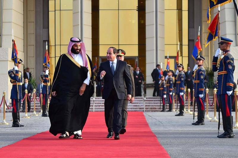 epa06585065 A handout photo made available by the Egyptian Presidency shows Egyptian President Abdel Fattah al-Sisi (R) walking with Saudi Crown Prince Mohammad Bin Salman (L) prior his departure, in Cairo, Egypt, 06 March 2018. Mohammad bin Salman left Egypt after a three-day official visit.  EPA/EGYPTIAN PRESIDENCY HANDOUT  HANDOUT EDITORIAL USE ONLY/NO SALES