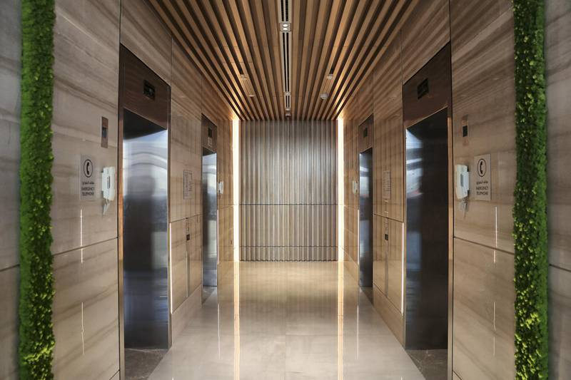 DUBAI, UNITED ARAB EMIRATES, December 6 – View of the Lift area at the Element hotel apartments in Al Jaddaf area in Dubai. (Pawan Singh / The National) For Lifestyle/Online. Story by Janice Rodrigues