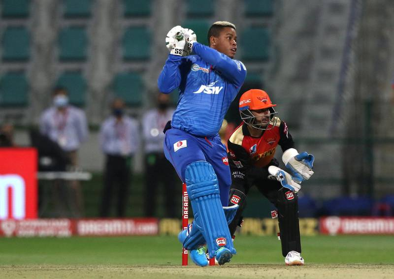 Shimron Hetmyer of Delhi Capitals   plays a shot during the qualifier 2 match of season 13 of the Dream 11 Indian Premier League (IPL) between the Delhi Capitals and the Sunrisers Hyderabad at the Sheikh Zayed Stadium, Abu Dhabi in the United Arab Emirates on the 8th November 2020.  Photo by: Pankaj Nangia  / Sportzpics for BCCI