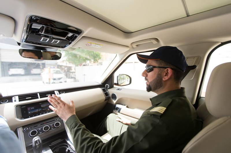 Dubai, United Arab Emirates, June 8, 2017:     Rashid Ghulam Nadir, an exam instructor in a Range Rover, one of the vehicles available for the Emirates Driving Institute's platinum driving course at their Al Qusais location in Dubai on June 8, 2017. Christopher Pike / The National  Job ID: 79337 Reporter: Ramona Ruiz Section: News Keywords:  *** Local Caption ***  CP0608-na-driving-course-03.JPG