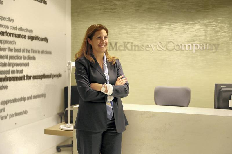 DUBAI ,  UNITED ARAB EMIRATES , JUNE 10 – 2019 :- Rima Assi, McKinsey Middle East partner at her office in DIFC in Dubai.  ( Pawan Singh / The National ) For Business. Story by Nada El Sawy