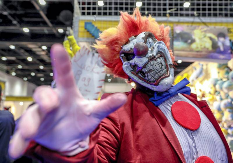 Dubai, April 12, 2019.  MEFCC day 2-Comic Con goers at full swing on day 2.  -- Abdul Majid Malky as Sweetthoothe from Twisted Metal.Victor Besa/The National.Section:  AC  Reporter:  Chris Newbould
