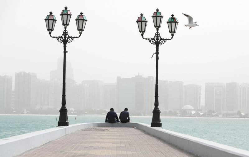 Abu Dhabi, United Arab Emirates - Dusty and windy along the Abu Dhabi Corniche. Khushnum Bhandari for The National
