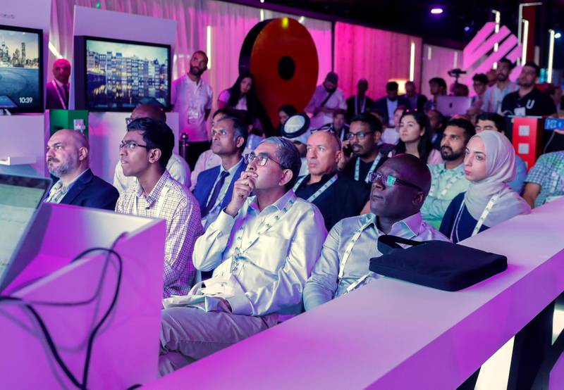 Dubai, April 30, 2019.  Ai Everything show at the Dubai World Trade Centre.--  The GOOGLE lecture area was very popular with the Ai visitors.Victor Besa/The NationalSection:  NAReporter:  P. Ryan and A. Sharma