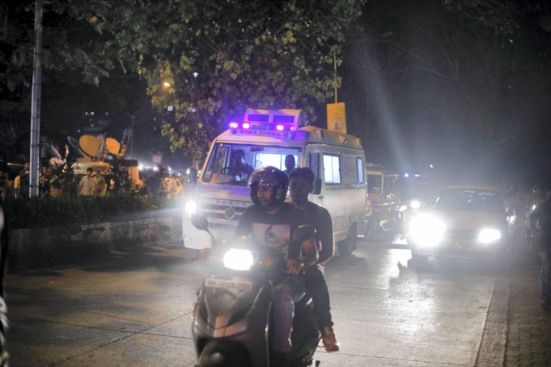 27 feb 2018 - Mumbai - INDIA. The Ambulance carrying the dead Body of Sridevi arrives at her house in Green Acres at Lokhandwala complex in Mumbai.  (Subhash Sharma for The National)