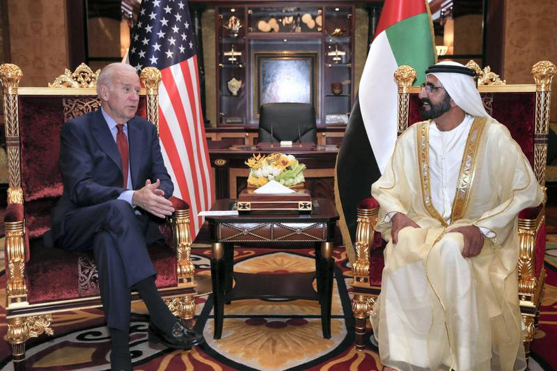 """A handout image provided by United Arab Emirates News Agency (WAM) on March 8, 2016, shows UAE Prime Minister and Dubai Ruler Sheikh Mohammed bin Rashid al-Maktoum (R) meeting with US Vice President Joe Biden in Dubai. (Photo by STRINGER / various sources / AFP) / === RESTRICTED TO EDITORIAL USE - MANDATORY CREDIT """"AFP PHOTO / HO / WAM"""" - NO MARKETING NO ADVERTISING CAMPAIGNS - DISTRIBUTED AS A SERVICE TO CLIENTS ==="""
