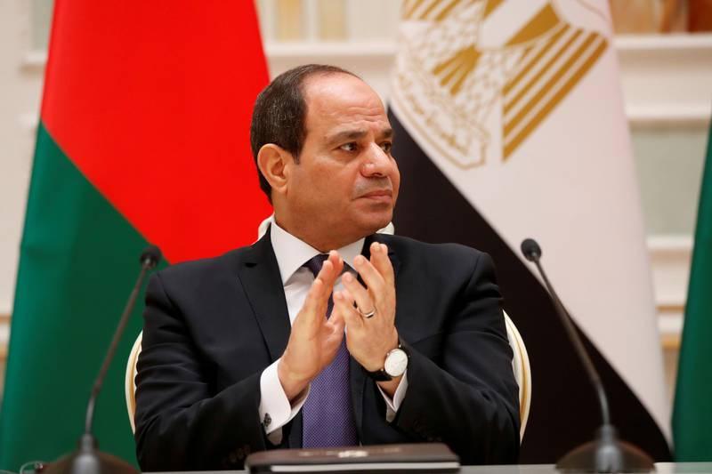 FILE PHOTO: Egyptian President Abdel Fattah al-Sisi is seen during a meeting with Belarusian President Alexander Lukashenko in Minsk, Belarus June 18, 2019. REUTERS/Vasily Fedosenko/File Photo