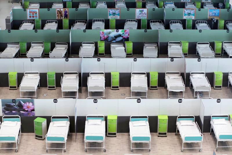 A view of beds at a shopping mall, one of Iran's largest, which has been turned into a centre to receive patients suffering from the coronavirus disease (COVID-19), in Tehran, Iran, April 4, 2020. WANA (West Asia News Agency)/Ali Khara via REUTERS ATTENTION EDITORS - THIS PICTURE WAS PROVIDED BY A THIRD PARTY     TPX IMAGES OF THE DAY