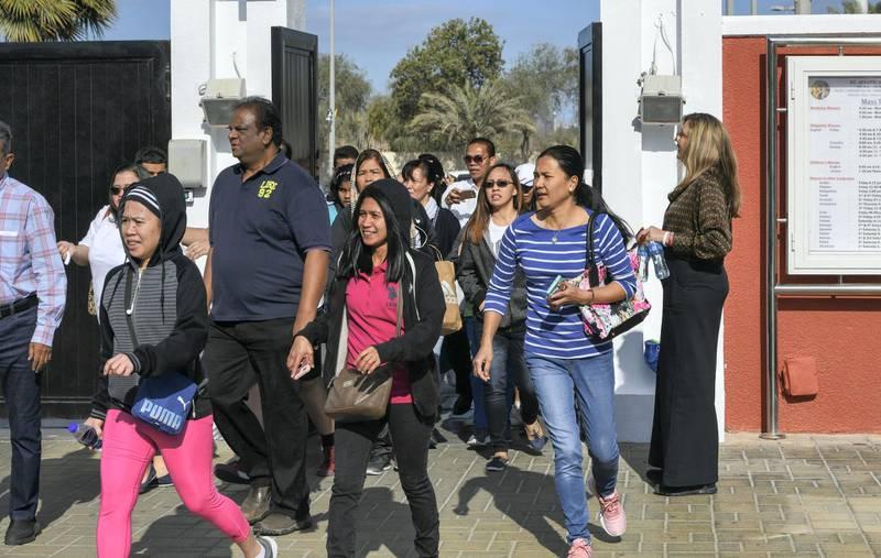 Abu Dhabi, United Arab Emirates - Worshippers rush inside to view the mass at St. JosephÕs Cathedral on February 5, 2019. Khushnum Bhandari for The National