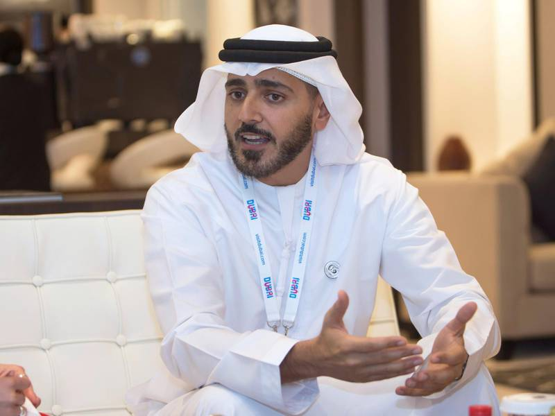 DUBAI, UNITED ARAB EMIRATES, 22 APRIL 2018 - Interview with Issam Kazim, CEO, DCTCM (Dubai Tourism) at the 25th Arabian Travel Market, Dubai. Leslie Pableo for the National for Sarah Townsend's story