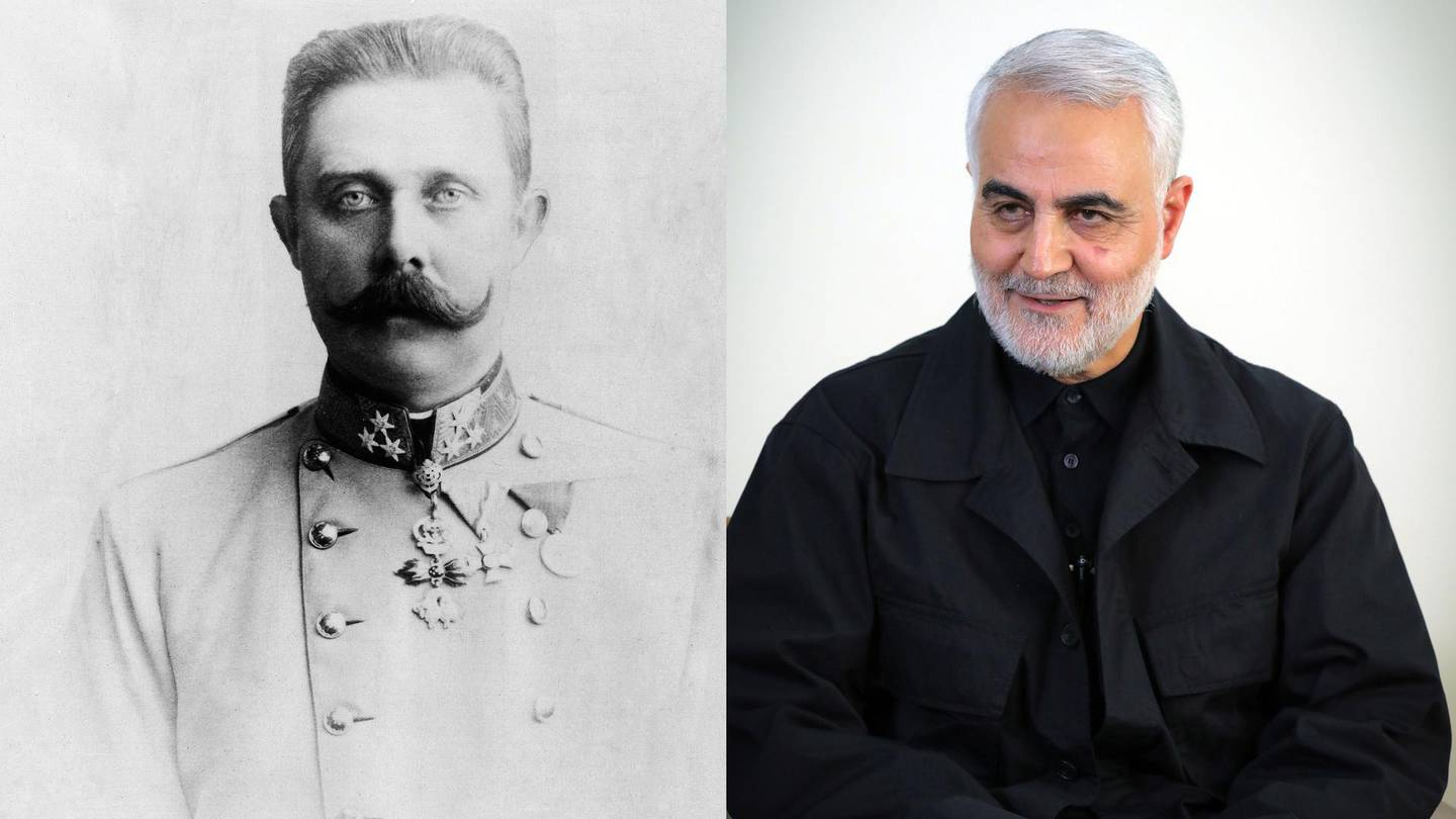 Franz Ferdinand, Archduke of Austria-EsteCrown Prince of Austria. Getty ImagesQasem Soleimani, Iranian Revolutionary Guards Corps (IRGC) Major General and commander of the Quds Force. AFP