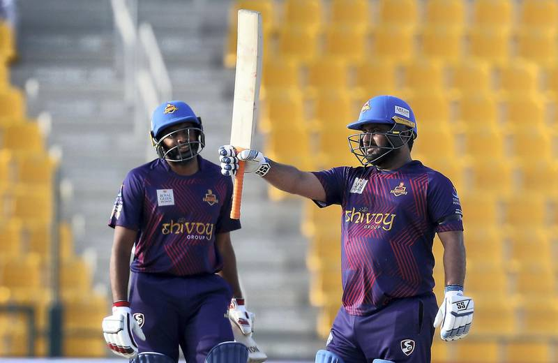 ABU DHABI , UNITED ARAB EMIRATES , Nov 19 – 2019 :- Mohammad Shahzad of Deccan Gladiators celebrating after scoring his half century during the Abu Dhabi T10 Cricket match between Qalanders vs Deccan Gladiators at Sheikh Zayed Cricket Stadium in Abu Dhabi. ( Pawan Singh / The National )  For Sports. Story by Paul