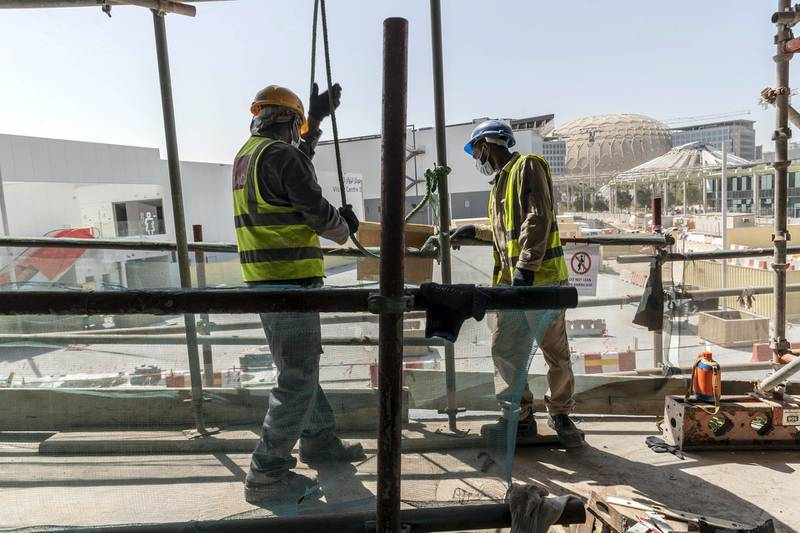 DUBAI, UNITED ARAB EMIRATES. 01 MARCH 2021. Construction work continueing at full scale on the Italian Pavilion at the Expo 2021 site in Dubai. (Photo: Antonie Robertson/The National) Journalist: Ramola Talwar. Section: National.