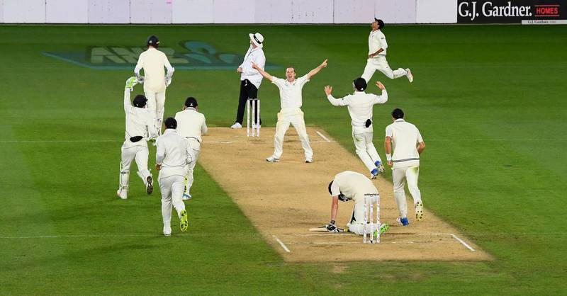 AUCKLAND, NEW ZEALAND - MARCH 26:  New Zealand bowler Todd Astle celebrates after dismissing James Anderson to win the match during day five of the First Test Match between the New Zealand Black Caps and England at Eden Park on March 26, 2018 in Auckland, New Zealand.  (Photo by Stu Forster/Getty Images)