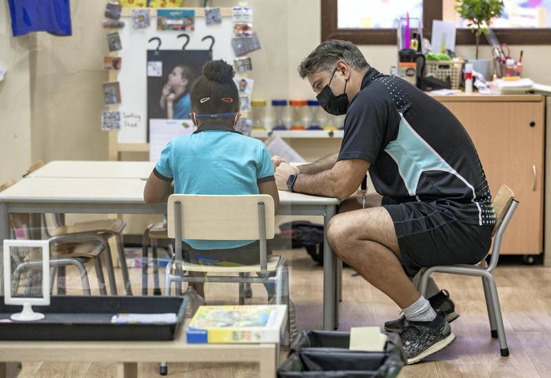 Abu Dhabi, United Arab Emirates, March 1, 2021.  Schools look back at one year of distance learning.  British International School Abu Dhabi.Victor Besa / The NationalSection:  NAReporter:  Anam Rizvi