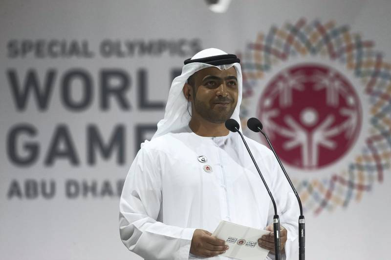 ABU DHABI, UNITED ARAB EMIRATES - March 21, 2019: Khalfan Al Mazrouei, Managing Director at Special Olympics World Games Abu Dhabi 2019? (C), delivers a speech on behalf of HH Sheikha Maryam bint Mohamed bin Zayed Al Nahyan, during the closing ceremony of the Special Olympics World Games Abu Dhabi 2019, at Zayed Sports City. ? ( Ryan Carter for the Ministry of Presidential Affairs ) ---