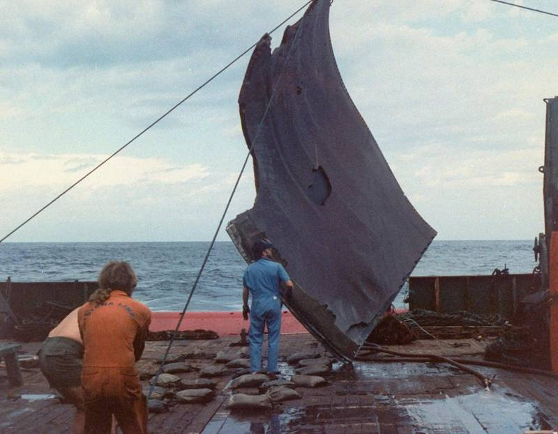 Piece of space shuttle Challenger debris being hoisted onto deck of Stena Workhorse by crew during recovery mission to assist process of studying accident which left crew of 7 dead. Off coast of FL  (Photo by Time Life Pictures/NASA/The LIFE Picture Collection via Getty Images)