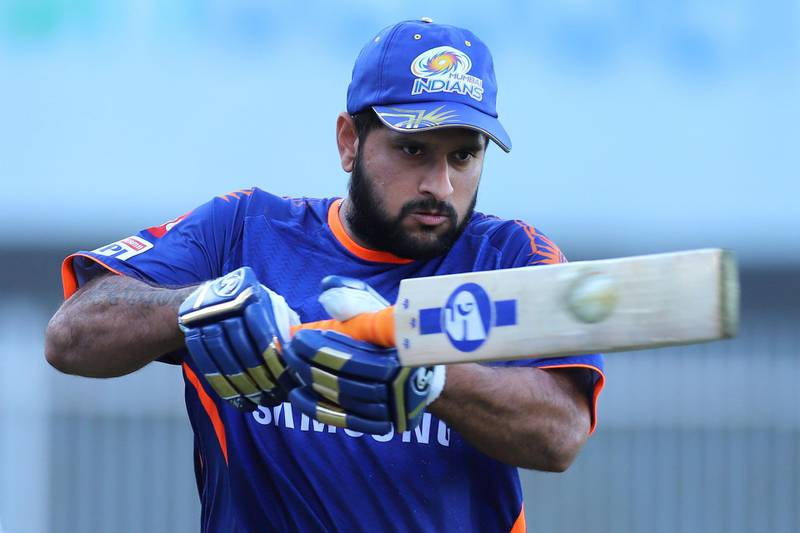 Saurabh Tiwary of Mumbai Indians during practice session before the start of match 41 of season 13 of the Dream 11 Indian Premier League (IPL) between the Chennai Super Kings and the Mumbai Indians held at the Sharjah Cricket Stadium, Sharjah in the United Arab Emirates on the 23rd October 2020.  Photo by: Deepak Malik  / Sportzpics for BCCI
