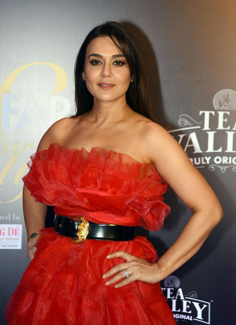 Indian Bollywood actress Preity Zinta attends the 'Filmfare Glamour and Style Awards' ceremony in Mumbai on February 12, 2019. (Photo by STR / AFP)