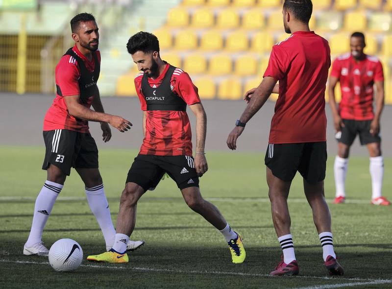 Dubai, United Arab Emirates - Reporter: John McAuley. Sport. Football. UAE player Bandar Al Ahbabi during a training session at Zabeel Stadium, Dubai. Saturday, March 27th, 2021. Dubai. Chris Whiteoak / The National