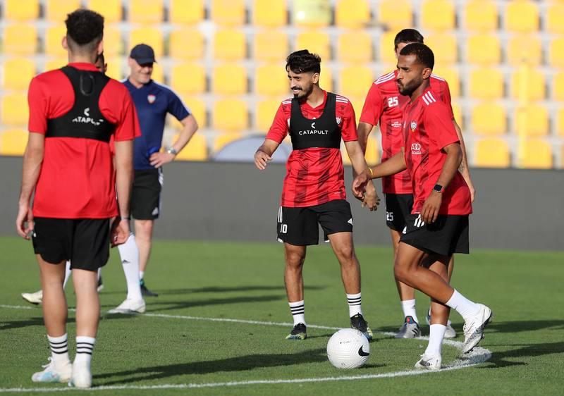 Dubai, United Arab Emirates - Reporter: John McAuley. Sport. Football. UAE Khalfan Mubarak during a training session at Zabeel Stadium, Dubai. Saturday, March 27th, 2021. Dubai. Chris Whiteoak / The National